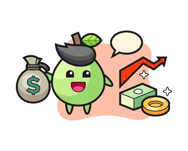 Guavenillustrationskarikatur, die geldsack hält, niedlichen stil für t-shirt, aufkleber, logoelement