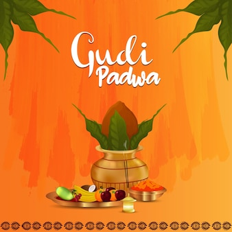 Gudi padwa feier hintergrund festival von marathi Premium Vektoren