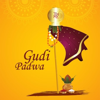 Gudi padwa grußkarte traditionelles festival
