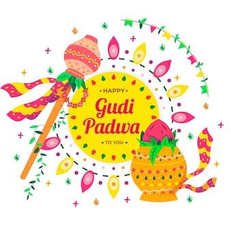 Gudi padwa hintergrundkonzept