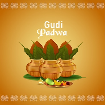 Gudi padwa-vektor-illustration mit goldenem kalaschand-hintergrund