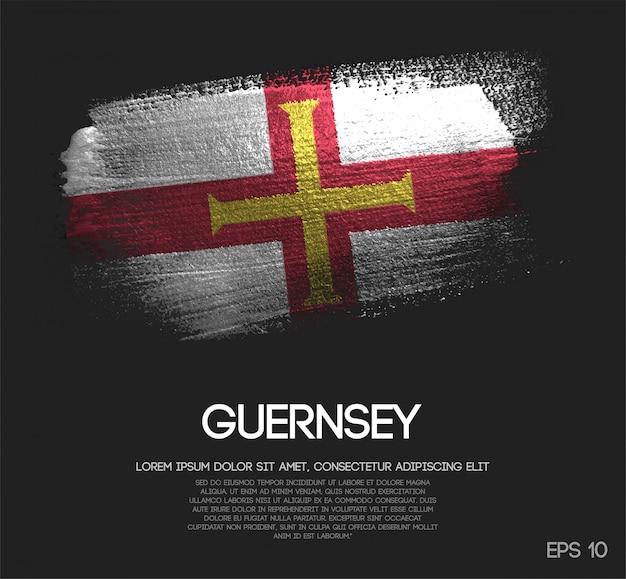 Guernsey flagge aus glitter sparkle pinselfarbe