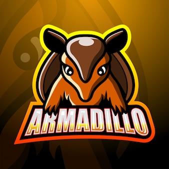 Gürteltier maskottchen esport logo design