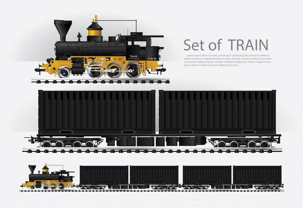 Güterzug auf einer eisenbahnstraße vektorillustration