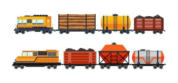 Güterzug-güterwagen mit container- und kastengüterzug. fahrzeugtransport-illustrationssatz. gestaltungselemente für den schweren schienenverkehr. flache artillustration