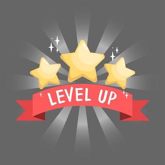 Gui-element goldene sterne auf rotem band für app-grafiken und spieldesign symbol für sieg und level-up