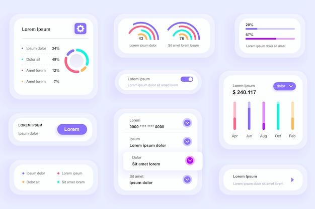 Gui-elemente für business analytics mobile app ui, ux toolkit