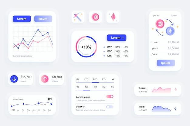 Gui-elemente für die benutzeroberfläche der mobilen kryptowährungs-app, ux-toolkit