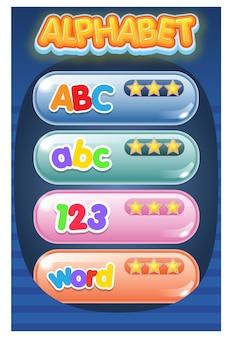 Gui-menü-spiel-alphabet, das texteffekt verfolgt.