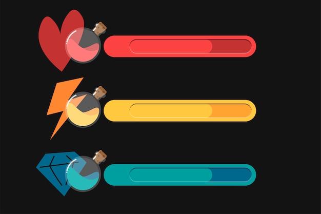 Gui. satz von statussymbolen: fortschritt, kraft, energie, leben, gesundheit, herzen, mana- oder kristallressourcen. sammlung von flaschen mit magischen flüssigkeiten, getränken.
