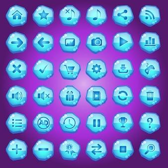Gui-schaltflächen symbole für spieloberflächen färben blaues licht.
