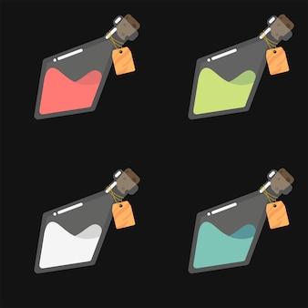 Gui, spielikone von flaschen mit bunten flüssigkeiten wie magischen elixieren, giften oder anderen getränken. glaskolben mit leeren etiketten.