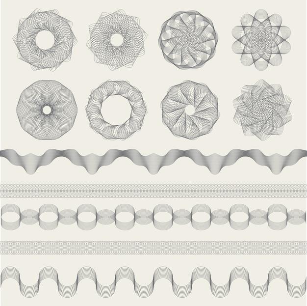 Guilloche-grafiken. weinlese-gravurwellen für gutscheine geldbanknoten oder zertifikatszeichen-sammlungsformen. grafikgrafisches wasserzeichen des zertifikats, dekorative musterillustration