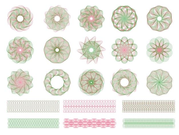 Guilloche-sammlung. gravur formen von sicherheitswasserzeichen für dokumente zertifikate und banknoten symmetrische formen. wasserzeichen gutschein, guilloche ornament zertifikat illustration