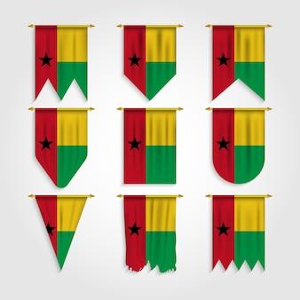 Guinea bissau flagge in verschiedenen formen, flagge von guinea bissau in verschiedenen formen