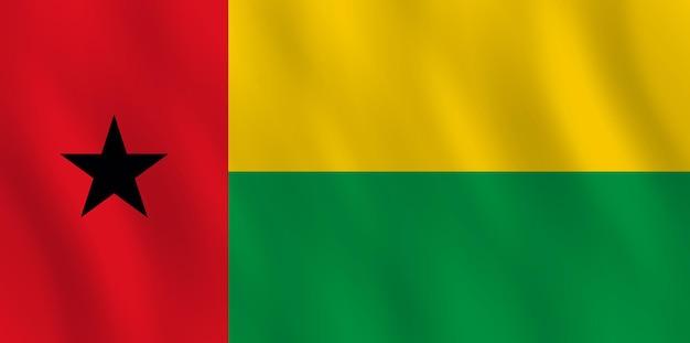 Guinea-bissau-flagge mit wehender wirkung, amtliche proportion.