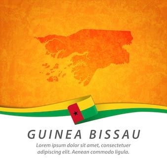 Guinea-bissau-flagge mit zentraler karte Premium Vektoren