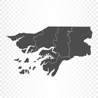 Guinea-bissau-karte auf transparentem hintergrund