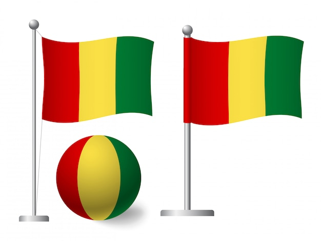 Guinea flagge auf stange und ballikone