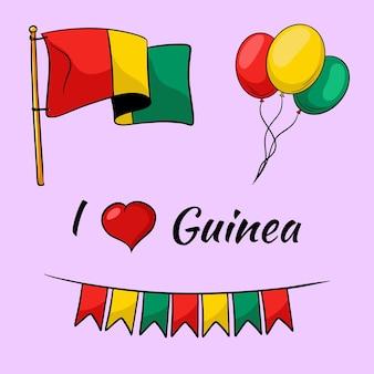 Guinea flagge. flaggen, luftballons in den farben von guinea. cartoon-stil.