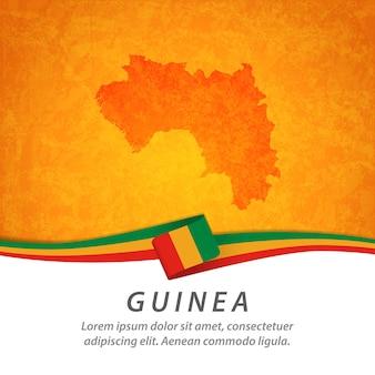 Guinea flagge mit zentraler karte Premium Vektoren
