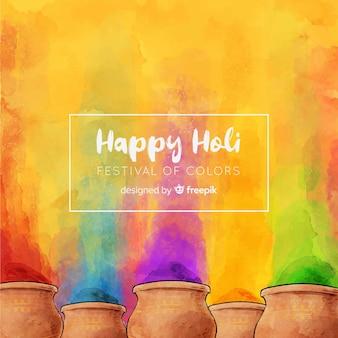 Gulal holi festivalhintergrund des aquarells