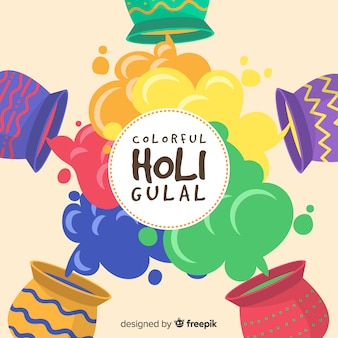 Gulal rahmen holi festivalhintergrund