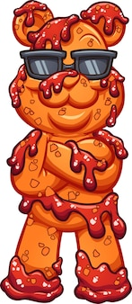 Gummibärchen mit chamoy-sauce in sonnenbrille