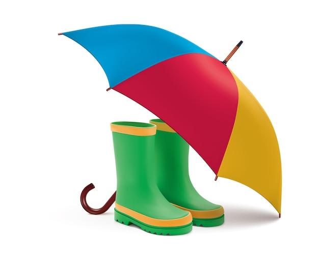 Gummistiefel und offener regenschirm. regengrüne stiefel, bunter regenschirm lokalisiert auf weißem hintergrund. realistisch