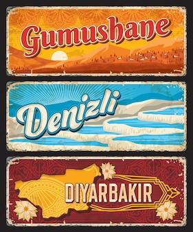 Gumushane, denizli und diyarbakir il, türkei provinzen vintage teller