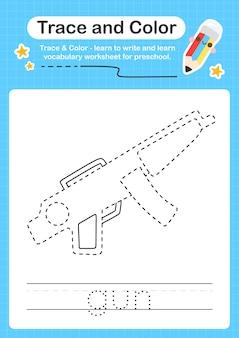 Gun trace und color preschool arbeitsblatt trace für kinder zum üben der feinmotorik