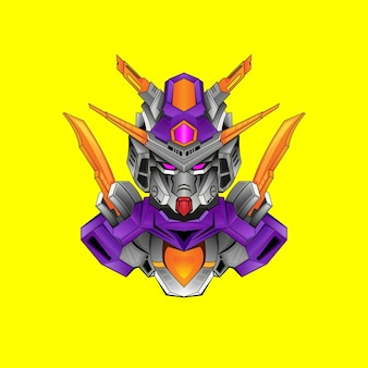 Gundam basic-kostüm-roboterdesign mit modernem illustrationskonzeptstil für budge-emblem
