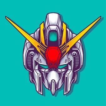 Gundam head illustration design
