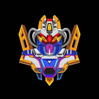 Gundam roboter-maskottchen-logo-design mit modernem illustrationskonzept-stil für budge-emblem-premium