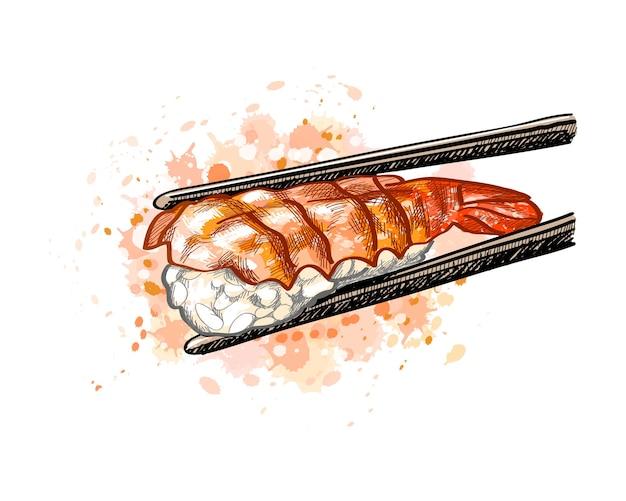 Gunkan sushi mit garnelen aus einem spritzer aquarell, handgezeichnete skizze. illustration von farben