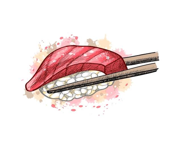 Gunkan sushi mit thunfisch aus einem spritzer aquarell, handgezeichnete skizze. illustration von farben