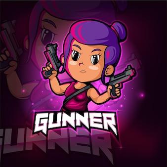 Gunner girl maskottchen esport logo design