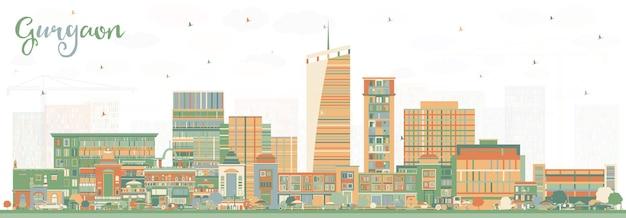 Gurgaon india city skyline mit farbgebäuden. vektor-illustration. geschäftsreise- und tourismuskonzept mit moderner architektur. gurgaon-stadtbild mit sehenswürdigkeiten.