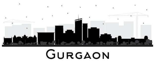 Gurgaon indien city skyline silhouette mit schwarzen gebäuden, isoliert auf weiss. vektor-illustration. geschäftsreise- und tourismuskonzept mit moderner architektur. gurgaon-stadtbild mit sehenswürdigkeiten.