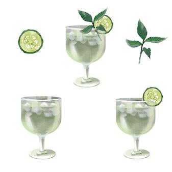Gurke minze martini aquarell cocktail illustration