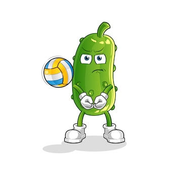 Gurke spielen volleyball maskottchen. karikatur