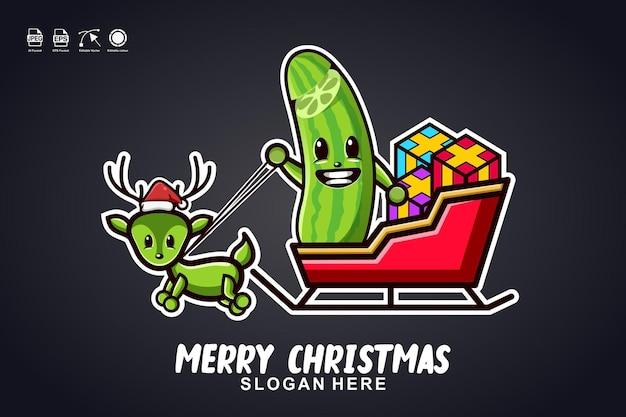 Gurkenschlittenfahrt frohe weihnachten niedliches maskottchen-charakter-logo-design