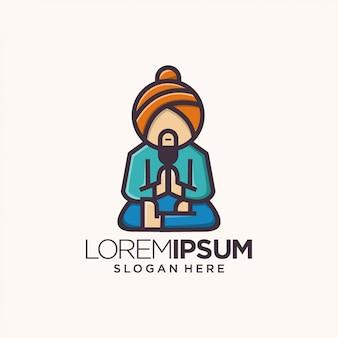 Guru logo strichzeichnungen indien Premium Vektoren