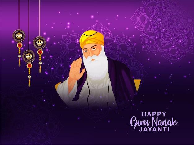 Guru nanak jayanti feier grußkarte mit vektor-illustration