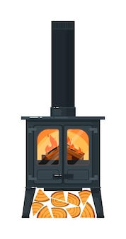 Gusseisenmantel mit brennendem brennholz und schornstein isoliert