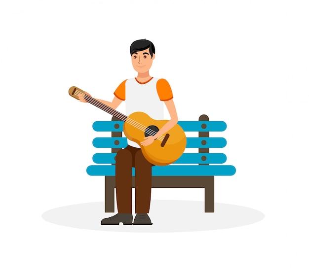 Gut aussehender mann mit akustikgitarre-illustration