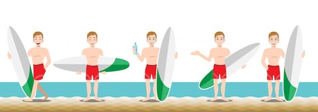 Gut aussehender mann mit schwimmenhose und tätigkeitsdesign