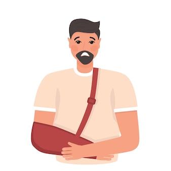 Gut aussehender mann mit verletzung männlicher charakter mit gebrochenem arm und einem fixierkragen um seinen hals