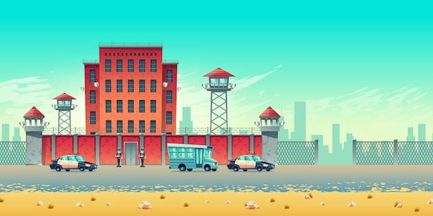 Gut bewachtes stadtgefängnisgebäude mit wachtürmen auf hohem ziegelsteinzaun, bewaffneten wertpapieren, bus für gefangenentransport und polizeikonvoieskortenautos an der gefängnisstahltor-karikaturvektorillustration