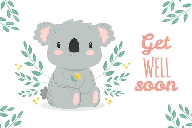 Gute besserung illustration mit koala